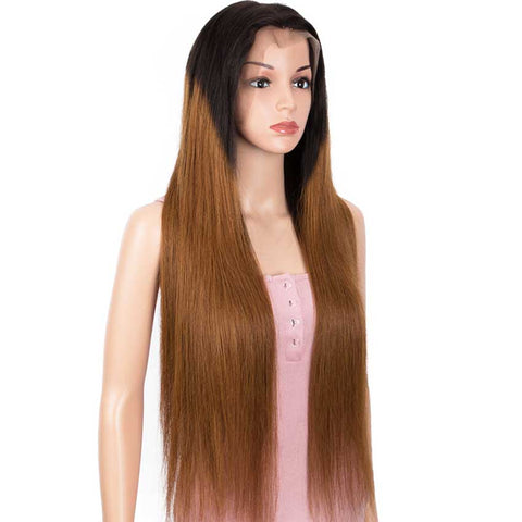 Image of Ombre Brown 13x4 Lace Front Wigs Straight Human Hair Wigs 150% Density