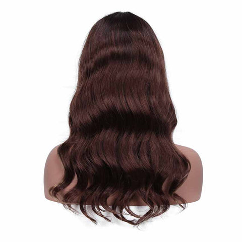 Image of Ombre Brown HD Lace Front Wigs Human Hair Body Wave Wigs Middle Part