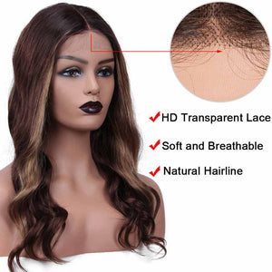 Ombre Brown HD Lace Front Wigs Human Hair Body Wave Wigs Middle Part