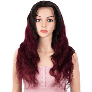13x4 Lace Front Wigs Body Wave Ombre Burgundy Red Human Hair Wigs 150% Density
