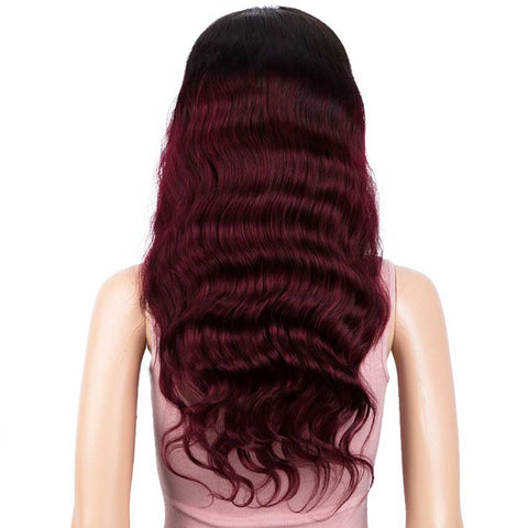Image of 13x4 Lace Front Wigs Body Wave Ombre Burgundy Red Human Hair Wigs 150% Density