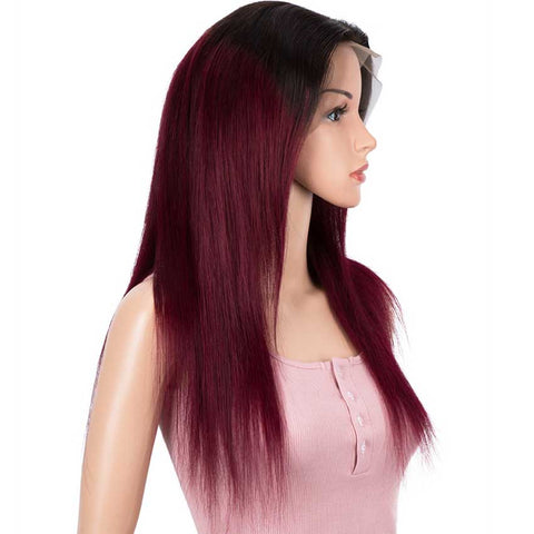 Image of Rebecca Fashion Straight 13x4 Lace Front Wig Ombre Burgundy Red Human Hair Wigs