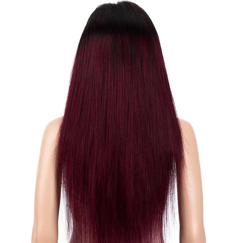 Image of Straight 13x4 Lace Front Wig Ombre Burgundy Red Human Hair Wigs