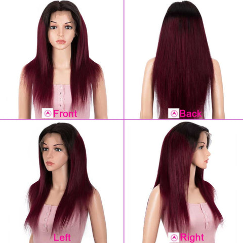 Straight 13x4 Lace Front Wig Ombre Burgundy Red Human Hair Wigs