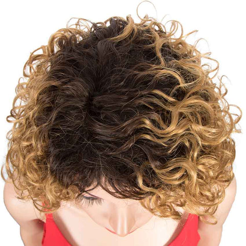 Ombre Color Short Wavy Bob Wigs TT2/27 Cute Human Hair Wig