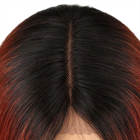 Image of Ombre Orange Bob Wig Middle Part Wigs 12 Inch