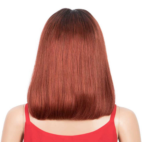 Ombre Orange Bob Wig Middle Part Wigs 12 Inch