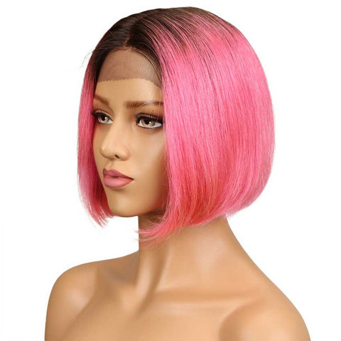 Short Ombre Bob Wig Natural Part 100% Human Hair Wigs