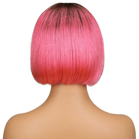 Image of Ombre Pink Bob Wig Middle Part 10 Inch Virgin Human Hair Wigs