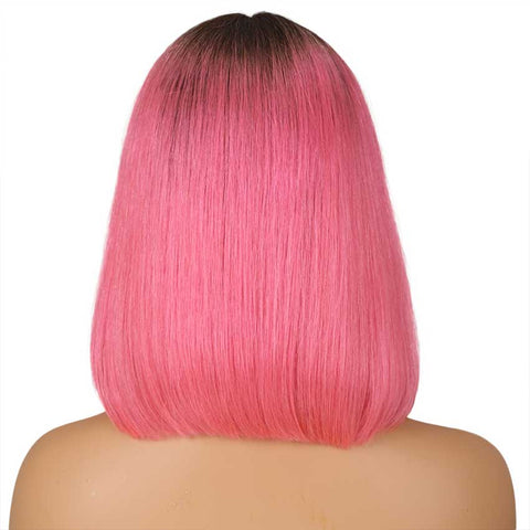 Image of Ombre Pink Bob Wig Middle Part Wigs 12 Inch