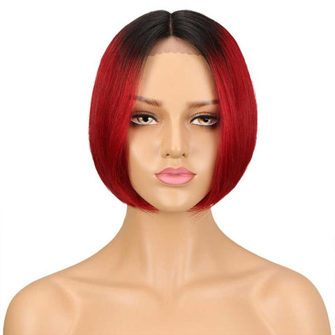 Ombre Red Bob Wig 10 Inch Middle Part 100% Virgin Human Hair Wigs