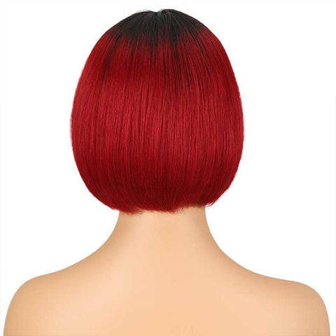 Image of Ombre Red Bob Wig 10 Inch Middle Part 100% Virgin Human Hair Wigs