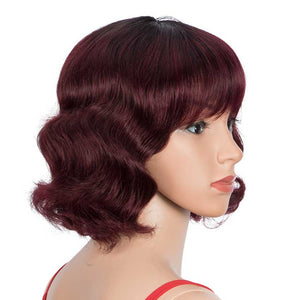Ombre Red Wigs 9 Inch Deep Wavy Human Hair Wig With Bangs