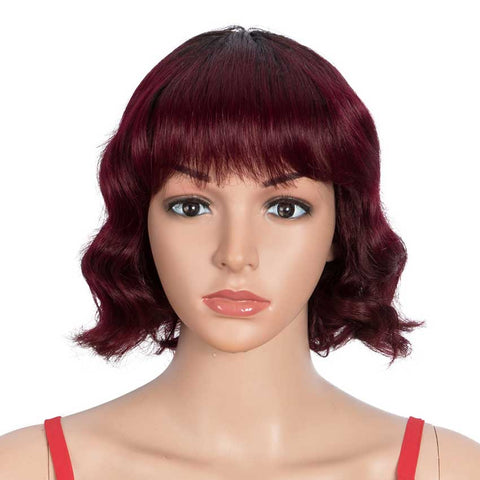 Image of Ombre Red Wigs 9 Inch Deep Wavy Human Hair Wig With Bangs