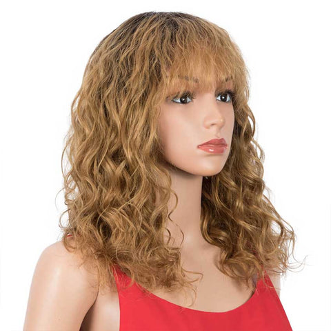 Ombre Wig Natural Wavy TT2-27 Human Hair Wigs With Bangs 16 inch