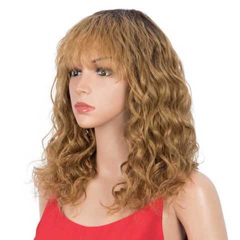 Image of Ombre Wig Natural Wavy TT2-27 Human Hair Wigs With Bangs 16 inch