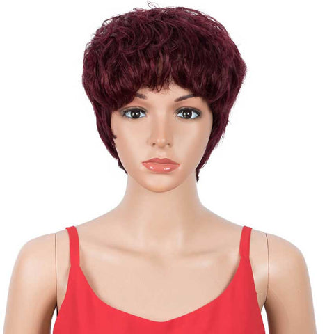 Pixie Cut Wig Short Wavy 9 Inch Human Hair Wigs