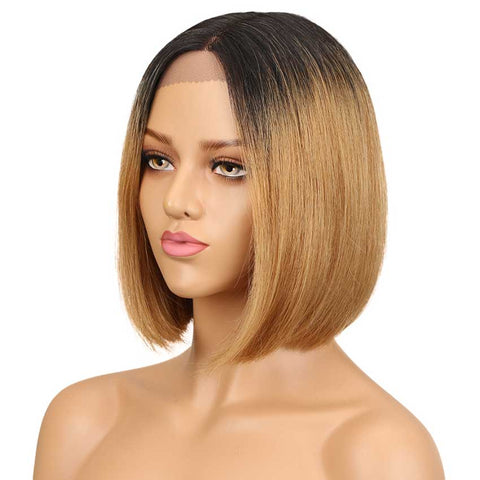 Straight Lace Part Short Bob Wig 130% Density 10 Inch Human Hair Wigs