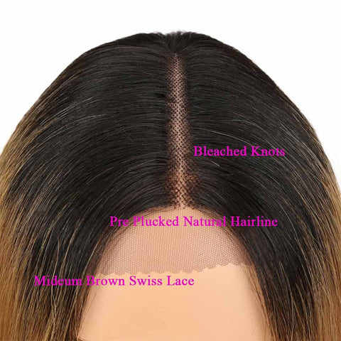 Image of Short Bob Ombre Wig Lace Part 10 inch 130% Density Human Hair Wigs