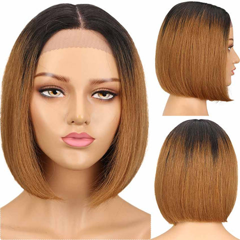 Short Bob T1B/30 Wig Lace Part 10 inch 130% Density Human Hair Wigs