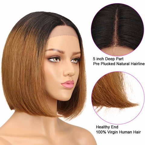 Image of Short Bob T1B/30 Wig Lace Part 10 inch 130% Density Human Hair Wigs