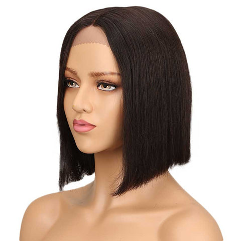Straight Lace Part Short Bob Wig 130% Density 10 Inch 100% Human Hair Wigs