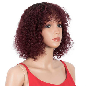 Short Curly Wavy Bob Human Hair Wigs With Bangs 10 inch