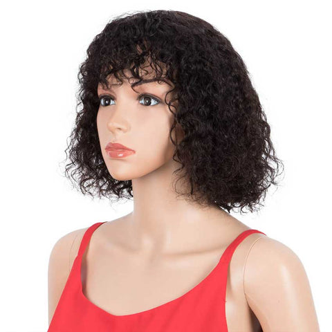 Bob Wig With Bangs 10 inch Human Hair Curly Wavy Wigs