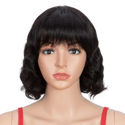 Short Deep Wavy Human Hair Wigs With Bangs for Black Women
