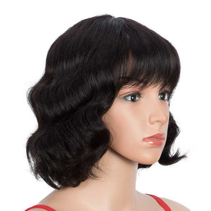 Short Deep Wavy Human Hair Wigs With Bangs for Black Women 9 inch