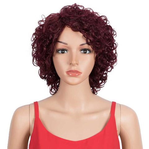 Short Wavy Bob Wigs Wine Red Human Hair Cute Wig