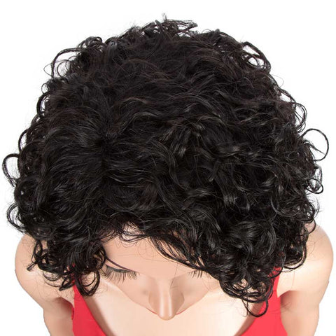 Short Wavy Bob Wigs Human Hair for Women Cute Human Hair Black Wig