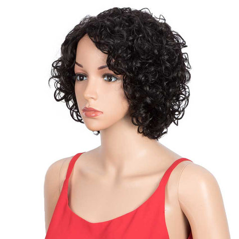 Short Bouncy Curly  Wigs Human Hair for Women Cute Human Hair Bob Wigs Ombre Burgunry blonde Wigs