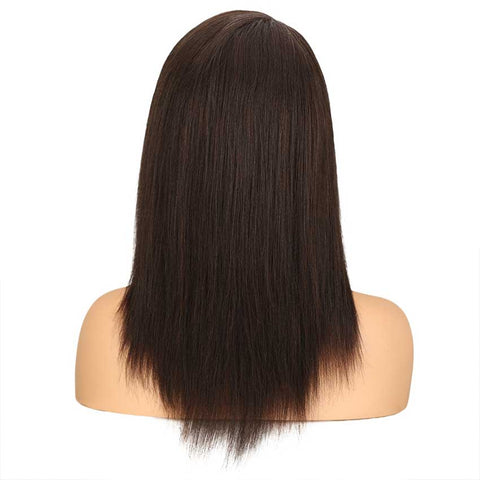 Straight Human Hair Wig Hand Tied Lace Part 18 Inch Wig 2#