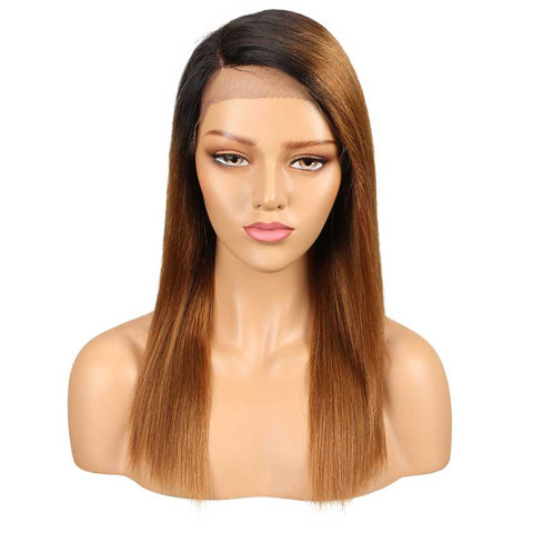 Straight Human Hair Wig Ombre Brown Lace Side Part Wig 18 Inch