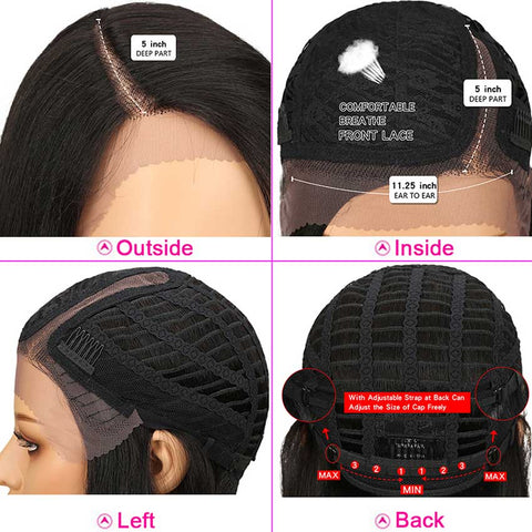 Straight Lace Front Wigs Human Hair for Black Women Side Part 18 Inch