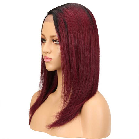 Image of Straight Lace Wig 18 Inch Side Part Human Hair TT1B/99J Ombre Wig