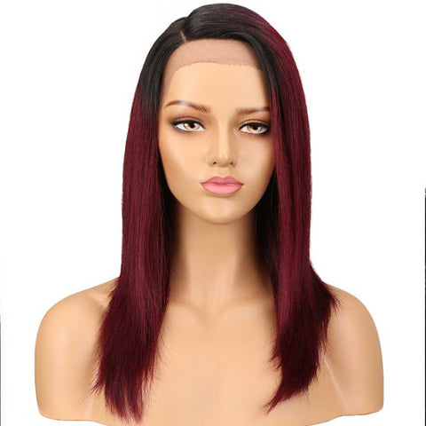 Rebecca Fashion Straight Lace Wig 18 Inch Side Part Human Hair TT1B/99J Ombre Wig