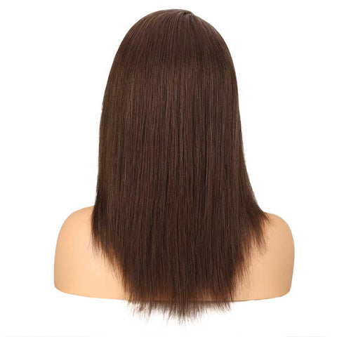Straight Light Brown Wig Lace Part 18 Inch Human Hair Wig