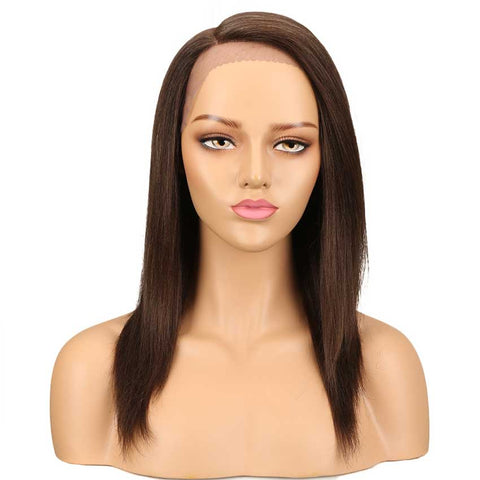 Straight Wig Hand Tied Lace Side Part Wig 18 Inch 130% Density 100% Human Hair Wigs