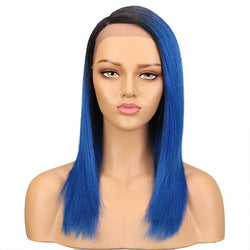 Straight Ombre Lace Wig TT1B-BLUE 18 Inch Side Part Wigs