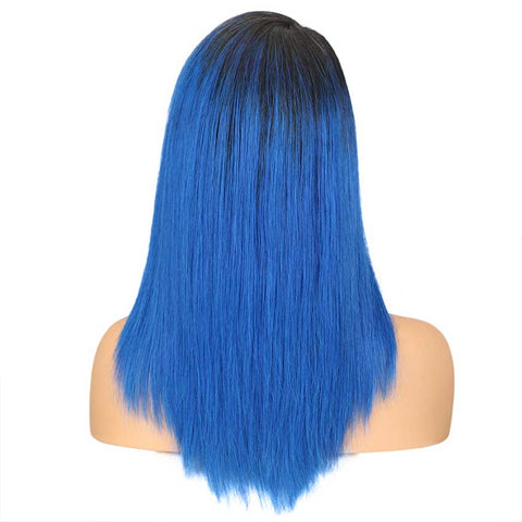 Image of Straight Ombre Lace Wig TT1B-BLUE 18 Inch Side Part Wigs
