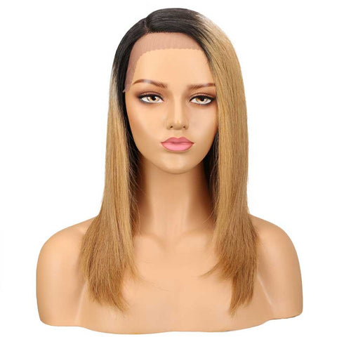 Straight Wig Ombre Blonde Human Hair Side Part 18 Inch Wig