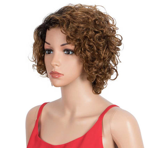 Image of TT1B/30 Bob Wigs Cute Human Hair Wavy Wig