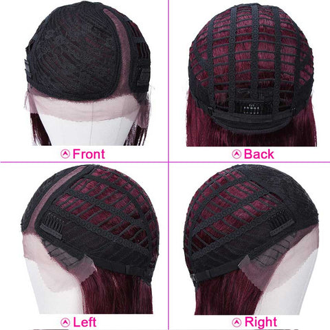 Burgundy Lace Wigs 18 Inch Side Part Human Hair Wig
