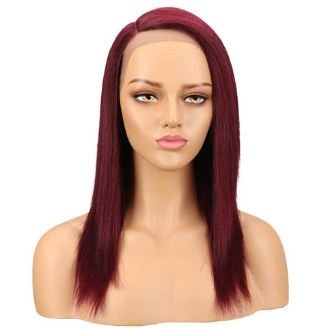 Image of Straight Wig Hand Tied Lace Side Part Wig 18 Inch