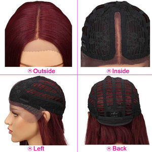 Wine Red Short Bob Wig Lace Part 10 inch Human Hair Wigs
