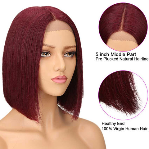 Image of Wine Red Short Bob Wig Lace Part 10 inch Human Hair Wigs