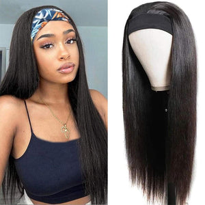 Straight Headband Wigs Virgin Human Hair Wig 150% Density