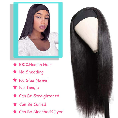 Image of Straight Headband Wigs Virgin Human Hair Wig 150% Density
